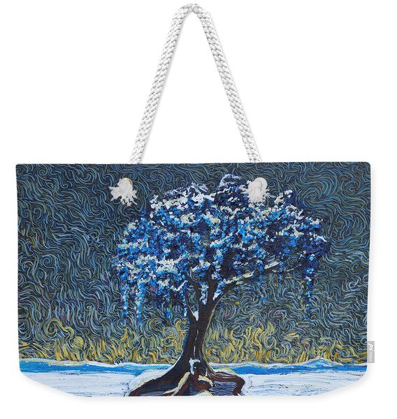 Standing Alone In The Snow Weekender Tote Bag