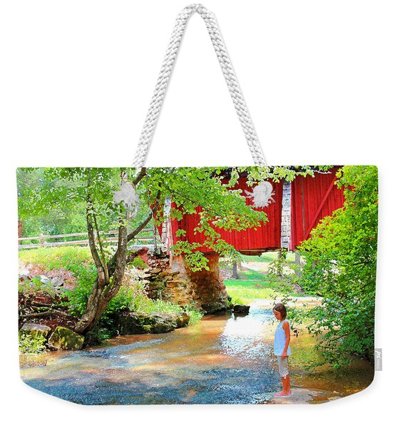 Standing By The River At Campbell's Bridge Weekender Tote Bag