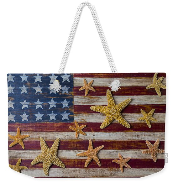 Starfish On American Flag Weekender Tote Bag