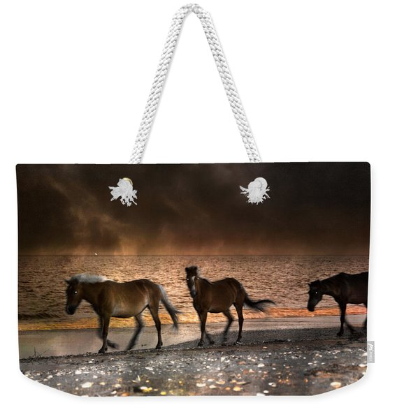 Starry Night Beach Horses Weekender Tote Bag