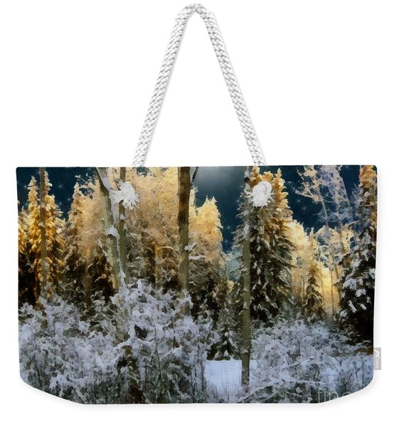 Starshine On A Snowy Wood Weekender Tote Bag