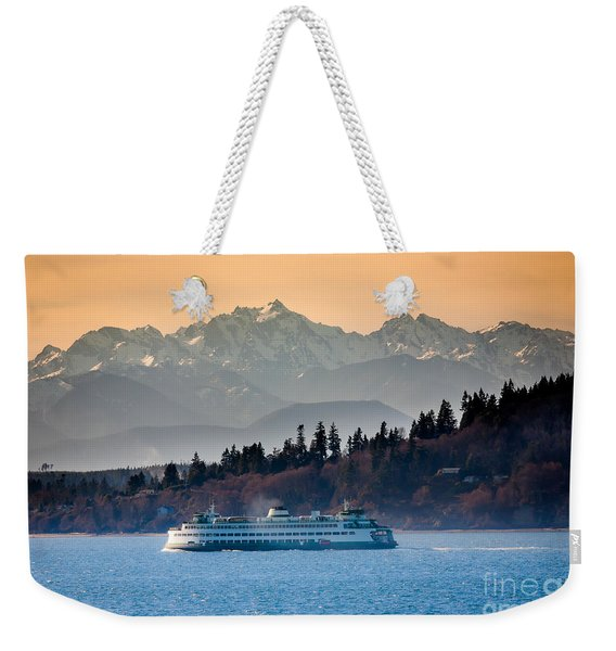 State Ferry And The Olympics Weekender Tote Bag
