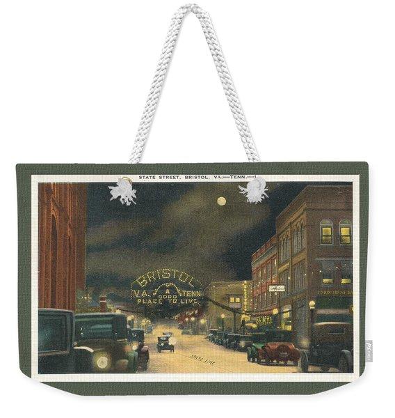 State Street Bristol Va Tn At Night Weekender Tote Bag