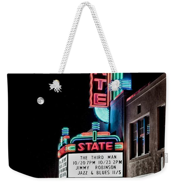 Weekender Tote Bag featuring the photograph State Theater by Jim Thompson