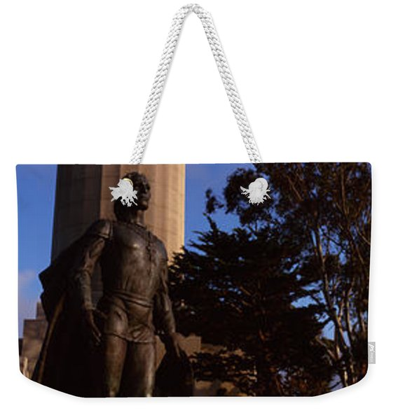 Statue Of Christopher Columbus In Front Weekender Tote Bag