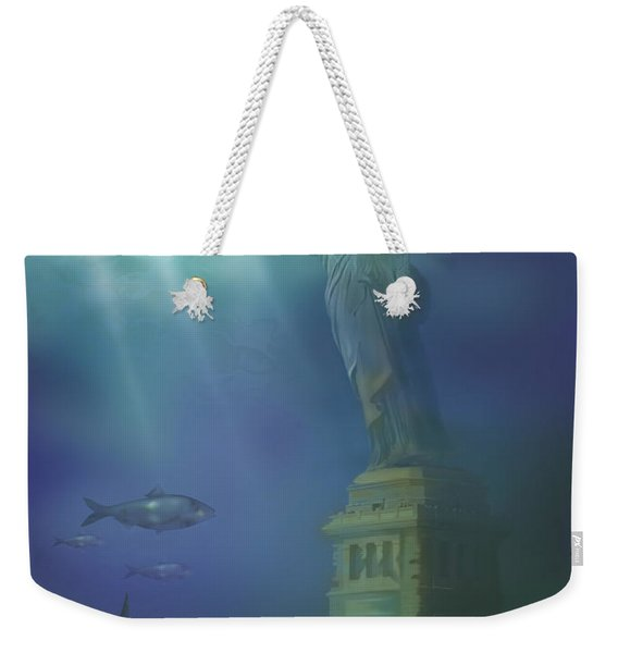 Statue Of Liberty Under Water Weekender Tote Bag