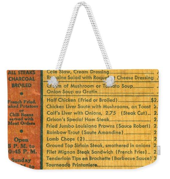 Steak House Wooden Menu Weekender Tote Bag