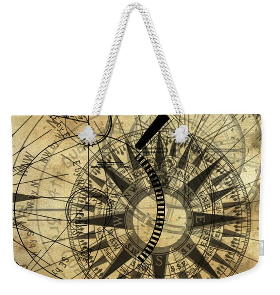 Steampunk Gold Compass Weekender Tote Bag