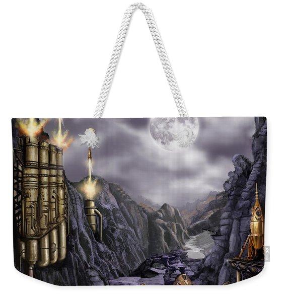 Steampunk Moon Invasion Weekender Tote Bag