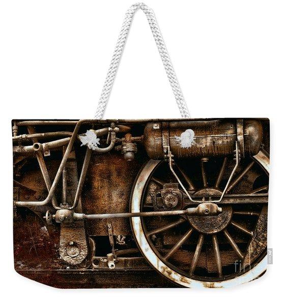 Steampunk- Wheels Of Vintage Steam Train Weekender Tote Bag