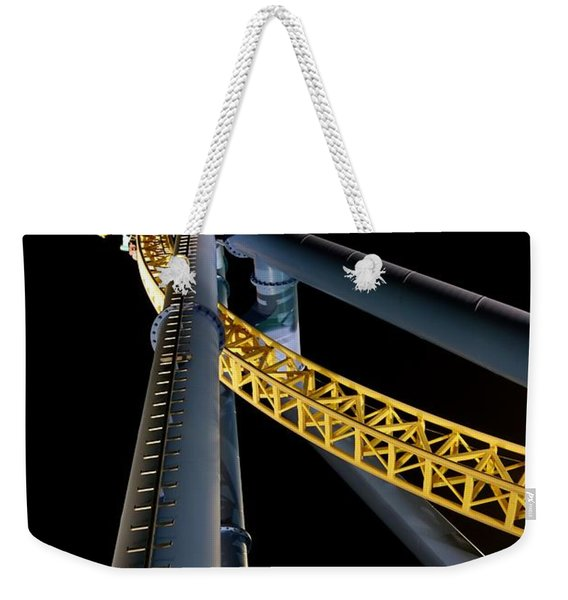 Weekender Tote Bag featuring the photograph Steel Venom by Jacqueline Athmann