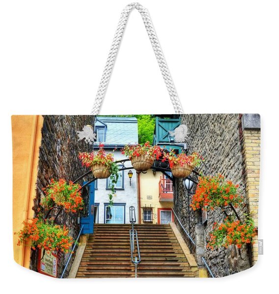 Steps Of Old Quebec Weekender Tote Bag