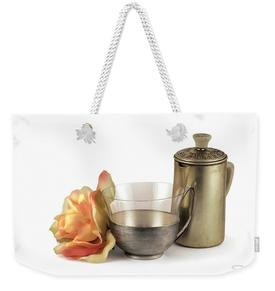 Still Life With Old Cup Rose And Coffe Pot Weekender Tote Bag