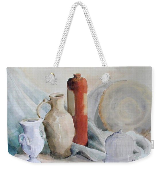 Watercolor Still Life With Pottery And Stone Weekender Tote Bag