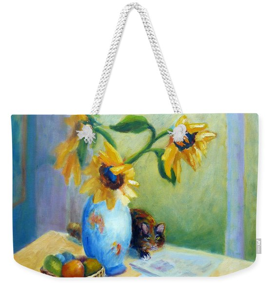 Still Life With Sunflowers And Cat Weekender Tote Bag