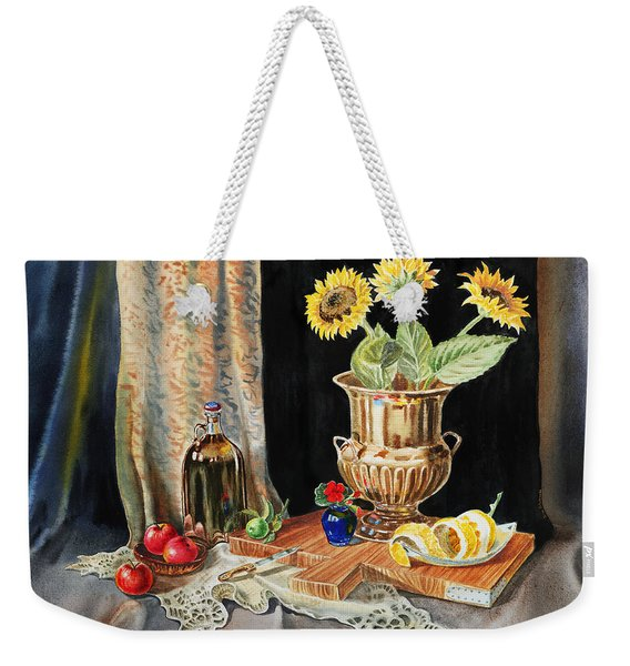 Still Life With Sunflowers Lemon Apples And Geranium  Weekender Tote Bag