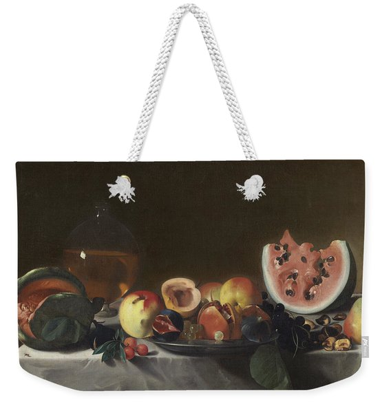 Still Life With Watermelons And Carafe Of White Wine Weekender Tote Bag