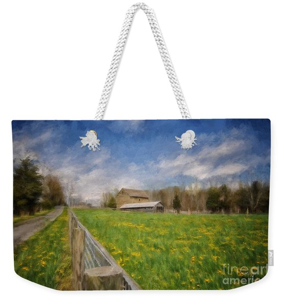 Stone Barn On A Spring Morning Weekender Tote Bag