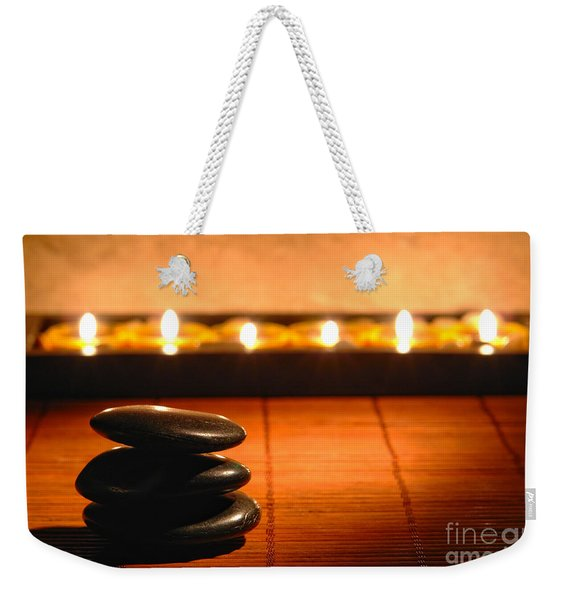 Stone Cairn And Candles For Quiet Meditation Weekender Tote Bag
