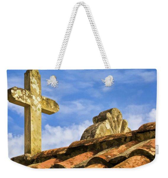 Stone Carved Weathered Cross Weekender Tote Bag