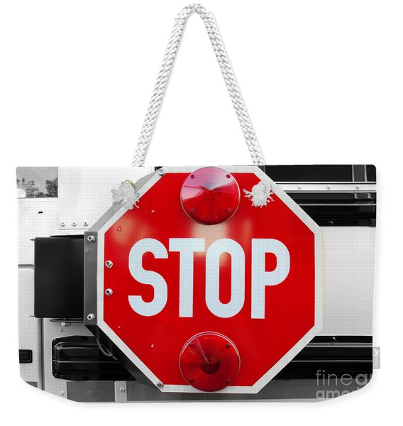 Stop Bw Red Sign Weekender Tote Bag