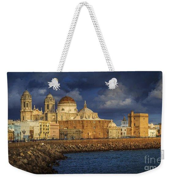 Stormy Skies Over The Cathedral Cadiz Spain Weekender Tote Bag