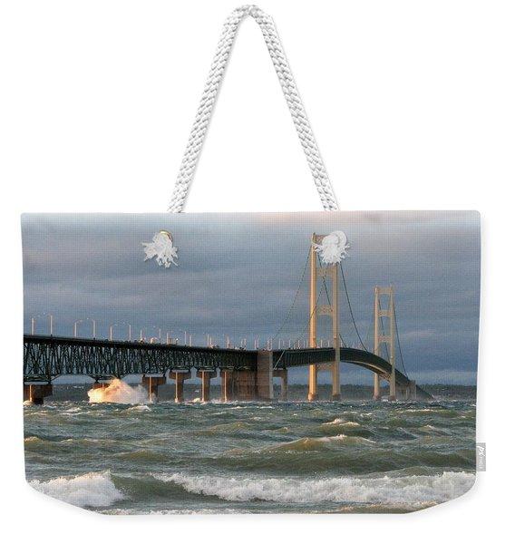Stormy Straits Of Mackinac Weekender Tote Bag