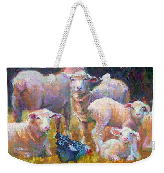 Weekender Tote Bag featuring the painting Stranger At The Well - Spring Lambs Sheep And Hen by Talya Johnson