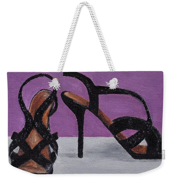 Strappy Black Heels For Maddy Weekender Tote Bag