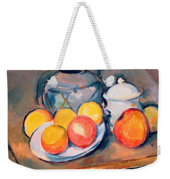 Straw Covered Vase Sugar Bowl And Apples Weekender Tote Bag