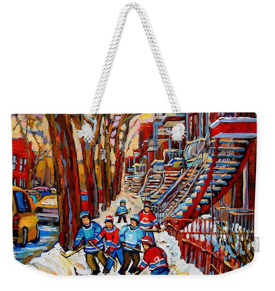 Streets Of Verdun Hockey Art Montreal Street Scene With Outdoor Winding Staircases Weekender Tote Bag