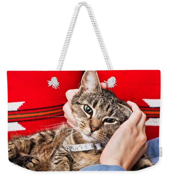 Stroking A Cat Weekender Tote Bag
