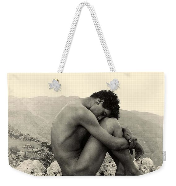 Study Of A Male Nude On A Rock In Taormina Sicily Weekender Tote Bag