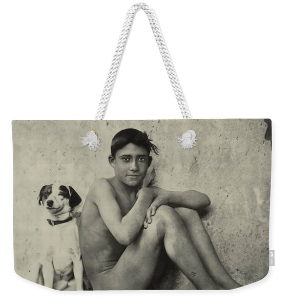 Study Of A Nude Boy With Dog Weekender Tote Bag