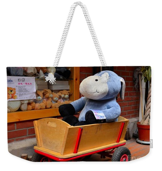 Stuffed Donkey Toy In Wooden Barrow Cart Weekender Tote Bag