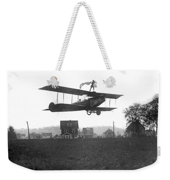 Stunts Atop A Biplane Weekender Tote Bag