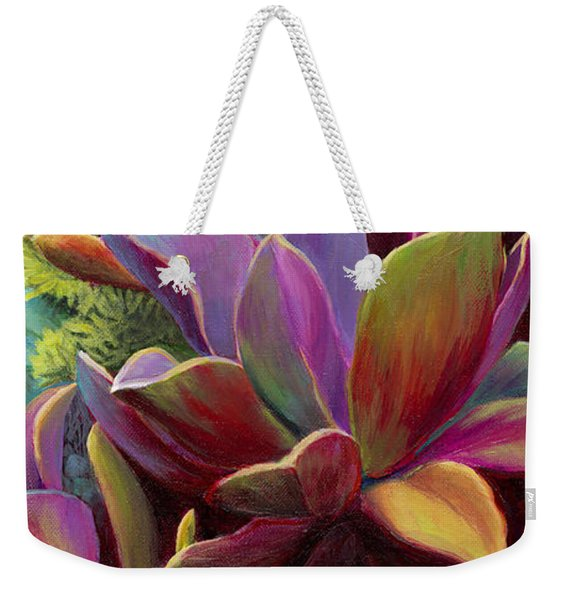 Weekender Tote Bag featuring the painting Succulent Jewels by Sandi Whetzel