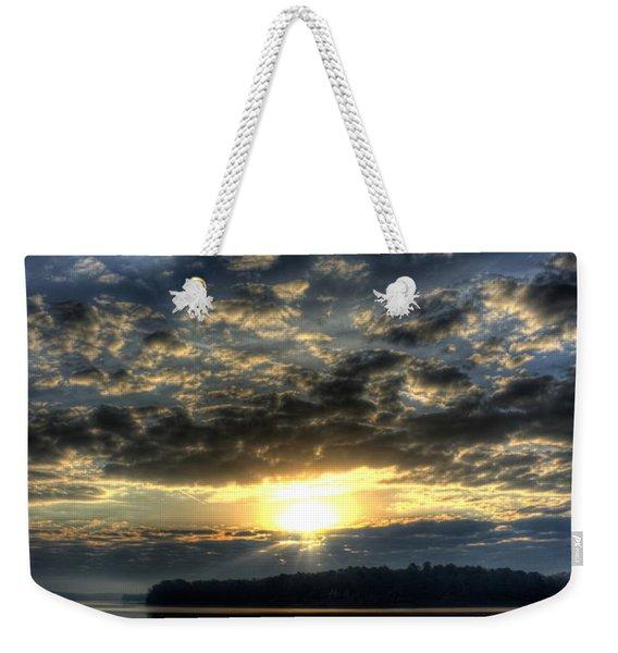 Sunrise Reflections Sugar Creek Sunrise On Lake Oconee Weekender Tote Bag