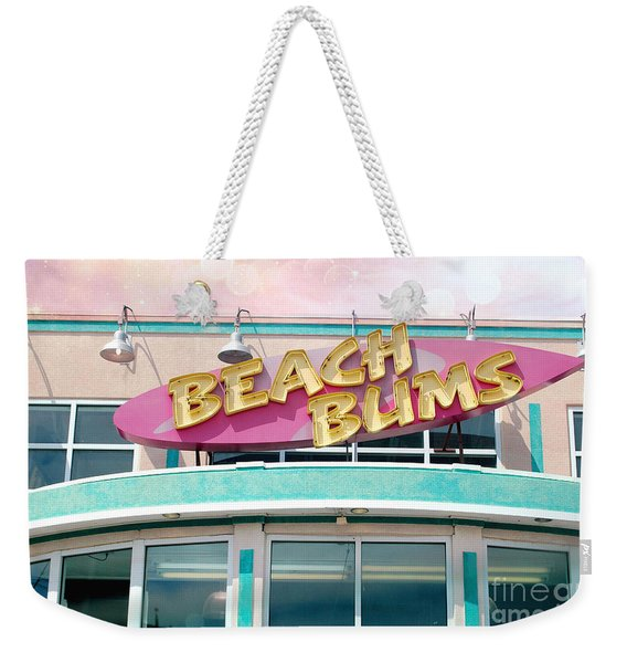 Summer Cottage Beach Bums Myrtle Beach Art Deco Sign Weekender Tote Bag