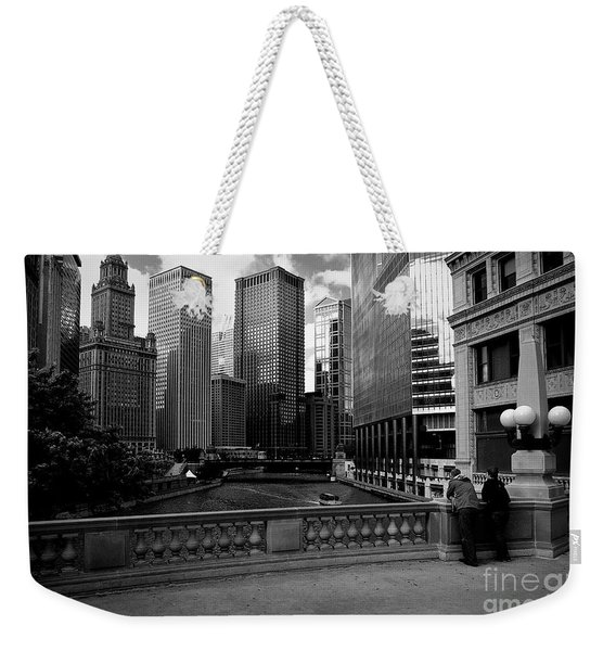 Summer On The Chicago River - Black And White Weekender Tote Bag