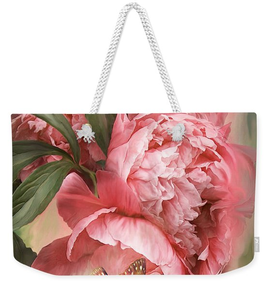 Summer Peony - Melon Weekender Tote Bag