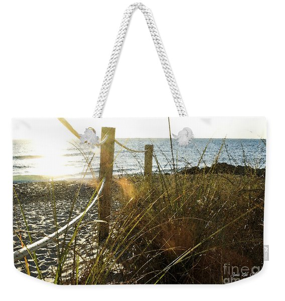 Sun Glared Grassy Beach Posts Weekender Tote Bag