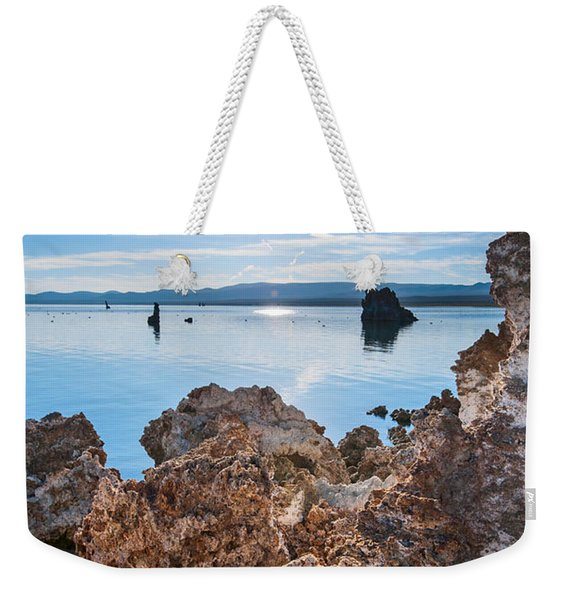 Sunburst - Strange Tufa Towers Of Mono Lake In California. Weekender Tote Bag