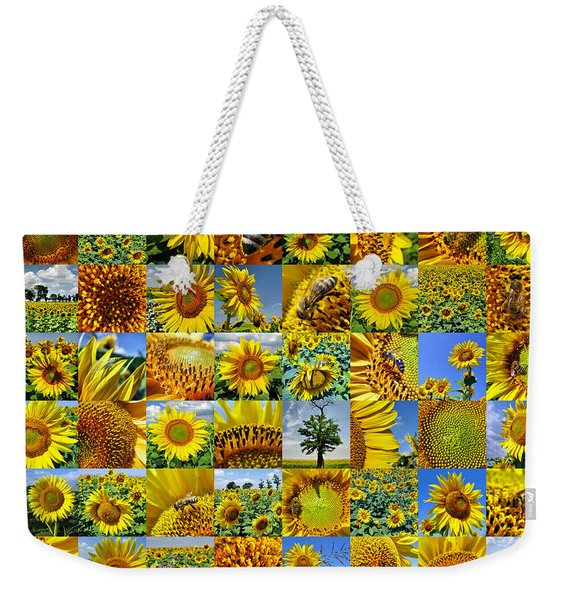 Sunflower Field Collage In Yellow Weekender Tote Bag