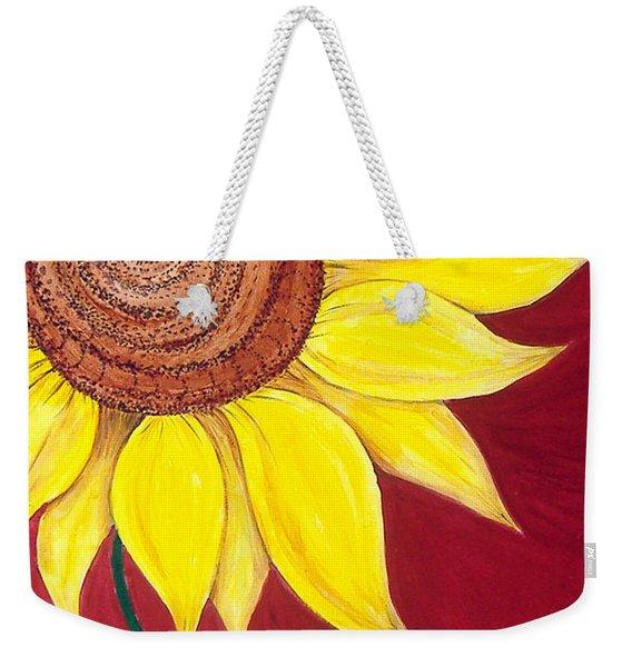 Sunflower On Red Weekender Tote Bag