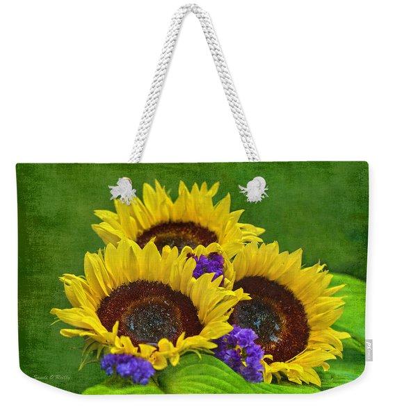 Sunflower Trio Weekender Tote Bag