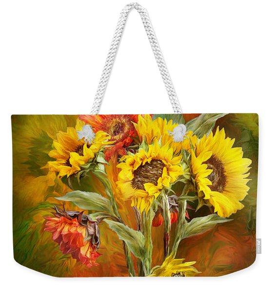 Sunflowers In Sunflower Vase Weekender Tote Bag