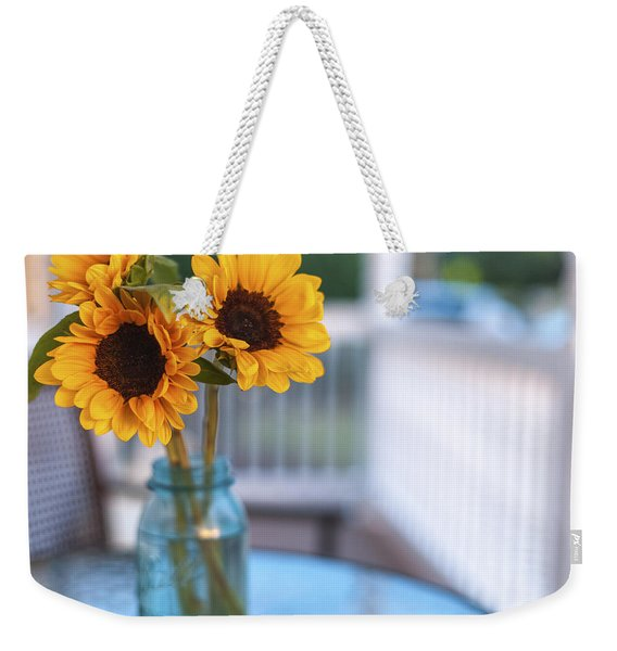 Sunflowers On The Porch Weekender Tote Bag