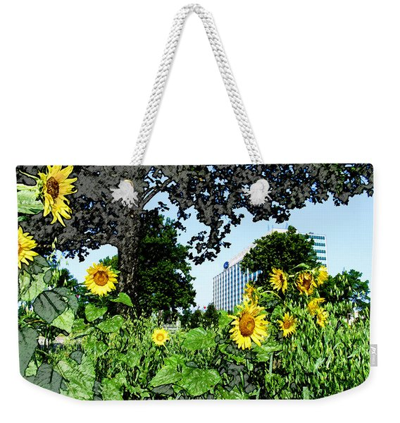 Sunflowers Outside Ford Motor Company Headquarters In Dearborn Michigan Weekender Tote Bag