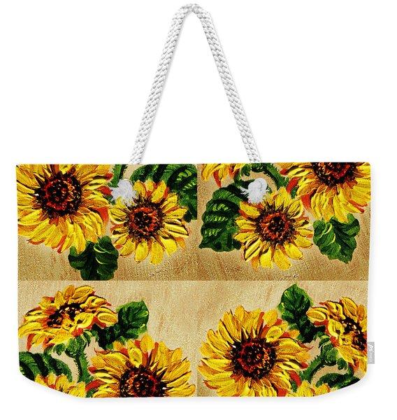 Sunflowers Pattern Country Field On Wooden Board Weekender Tote Bag